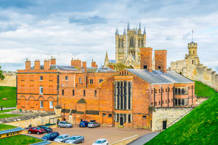 Lincoln cathedral viewed over rampart of the Lincoln castle, England
