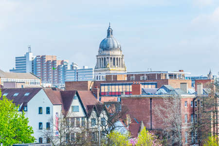 Aerial view of nottingham dominated by cupola of the town hall, England