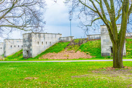 View of ruins of nazi sport stadium within the nsdap rally grounds in Nurnberg, Germany