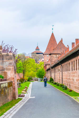 View of the medieval fortification of the german city Nurnberg.
