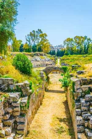 Ruins of the Roman Amphitheater in Syracuse, Sicily, Italy