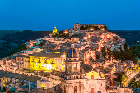 Sunset view of old town of the sicilian city Ragusa Ibla, Italy