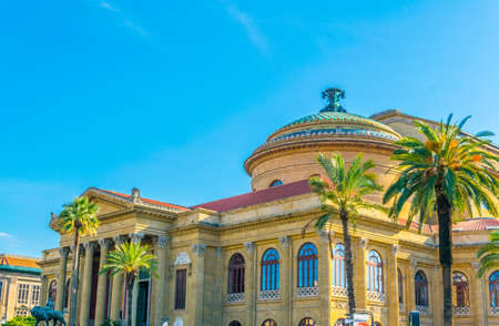 View of the Teatro Massimo in Palermo, Sicily, Italy