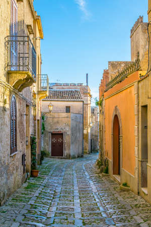 View of a narrow street in the historical center of Erice village on Sicily, Italy  Stock Photo
