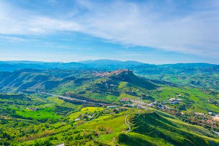 View of Calascibetta village in central Sicily, Italy.