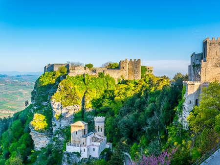 Castello di Venere in Erice, Sicily, Italy Redactioneel