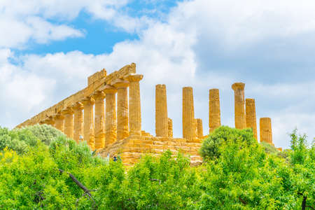 View of the temple of Juno in the Valley of temples near Agrigento in Sicily, Italy