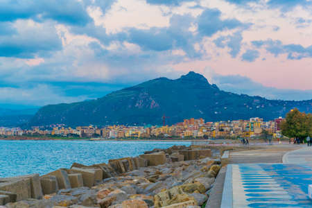 View of seaside of the sicilian city Palermo during sunset, Italy Banque d'images - 102365581