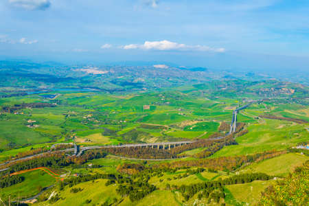 nature in the central Sicily with Calascibetta village, Italy  Stock Photo