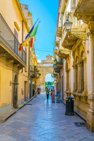 View of a narrow street in Marsala, Sicily, Italy Editöryel