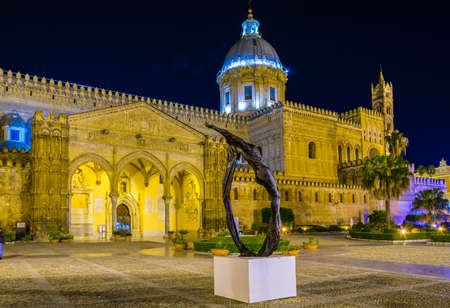 Night view of the cathedral of Palermo, Sicily, Italy