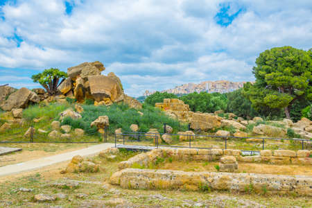 View of ruins of the temple of Zeus in the Valley of temples near Agrigento in Sicily, Italy