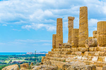 View of the temple of Juno in the Valley of temples near Agrigento in Sicily, Italy  Stock Photo