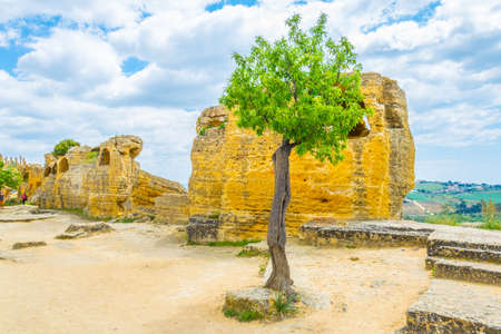 View of ruins of the Valley of temples near Agrigento in Sicily, Italy