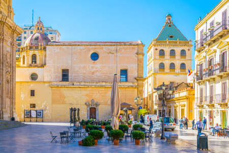 View of the Piazza Loggia in Marsala, Sicily, Italy  Editorial