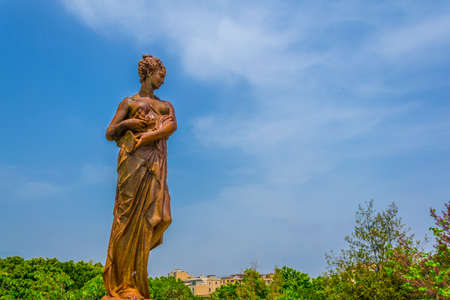 View of a statue in the Bellini garden park in Catania, Sicily, Italy