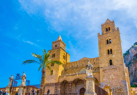 View of the cefalu cathedral, Sicily, Italy