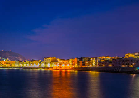 View of seaside of the sicilian city Trapani during sunset, Italy 写真素材 - 102331071