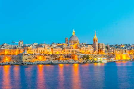 Skyline of Valleta during night, Malta