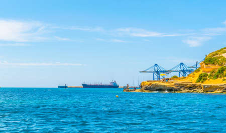View of cargo port near Birzebugga, Malta