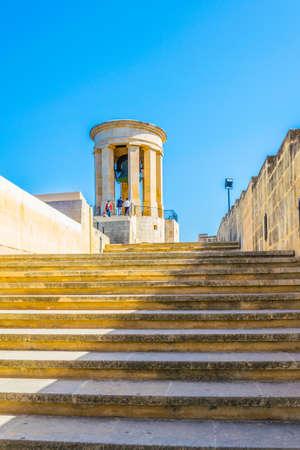 View of the siege bell in Valletta, Malta