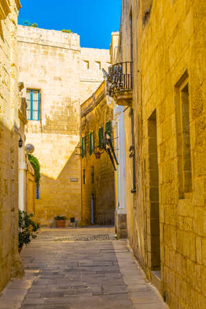 View of a narrow street in the old town of Mdina, Malta Stock Photo