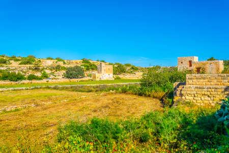 View of ruins of ta borg in-nadur near Birzebbuga, Malta Stock Photo
