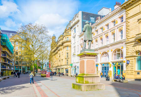MANCHESTER, UNITED KINGDOM, APRIL 11, 2017: People are walking on Saint ann square in Manchester, England Editorial