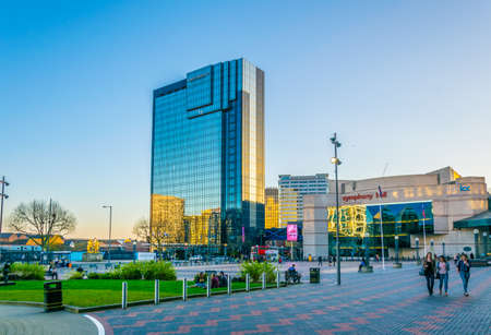 BIRMINGHAM, UNITED KINGDOM, APRIL 8, 2017: View of the Symphony hall and Hyatt Regency hotel in Birmingham, England