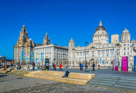 LIVERPOOL, UNITED KINGDOM, APRIL 7, 2017: Three Graces buildings in Liverpool, England