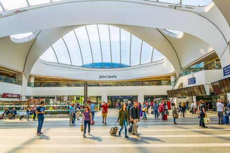 BIRMINGHAM, UNITED KINGDOM, APRIL 9, 2017:Interior of the Birmingham new street train station in Birmingham, England