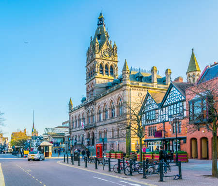 CHESTER, UNITED KINGDOM, APRIL 7, 2017: View of the town hall in the central Chester, England Editorial