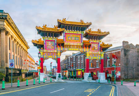LIVERPOOL, UNITED KINGDOM, APRIL 5, 2017: View of the chinatown gate in Liverpool, England
