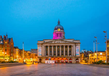 NOTTINGHAM, UNITED KINGDOM, APRIL 10, 2017: Night view of the town hall in Nottingham, England