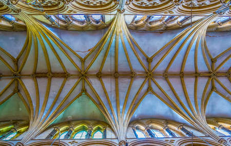 LINCOLN, UNITED KINGDOM, APRIL 10, 2017: ceiling of the Lincoln cathedral, England Editorial