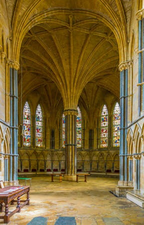 LINCOLN, UNITED KINGDOM, APRIL 10, 2017: Interior of the chapter house inside of the Lincoln cathedral, England