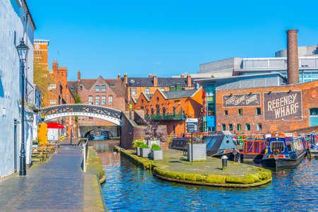 BIRMINGHAM, UNITED KINGDOM, APRIL 9, 2017: Boats at regency wharf in Birmingham, England