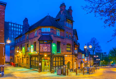 NOTTINGHAM, UNITED KINGDOM, APRIL 10, 2017: Night view of a pub in Nottingham, England