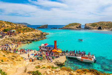 COMINO, MALTA, MAY 1, 2017: Tourist boats are anchoring near comino island, Malta