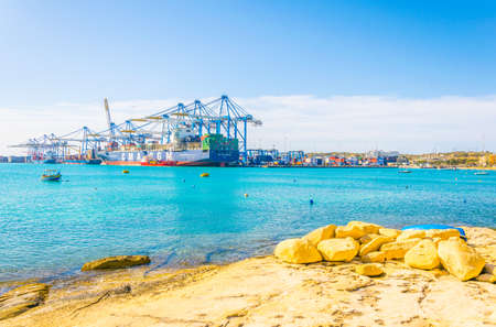 BIRZEBBUGA, MALTA, APRIL 30, 2017: View of cargo port near Birzebugga, Malta