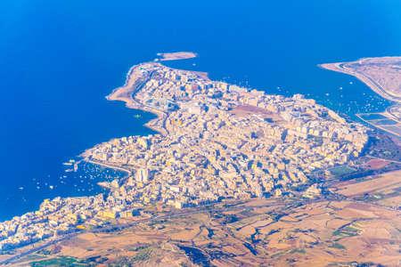 Aerial view of Bugibba, Malta