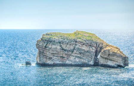 Fungus rock near Dwejra point, Gozo, Malta 免版税图像