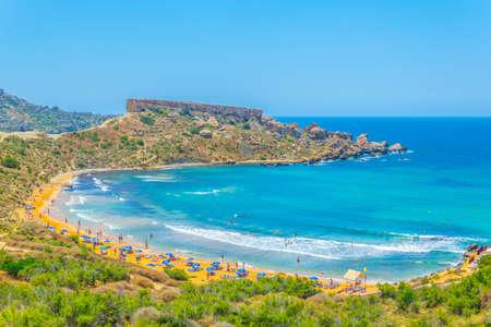 Ghajn Tuffieha bay on Malta Stock Photo