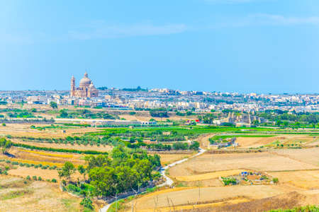 Aerial view of Xewkija with the Rotunda St. John Baptist, Gozo, Malta Stock Photo