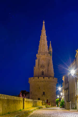 Night view of the Tour de la lanterne in La Rochelle, France