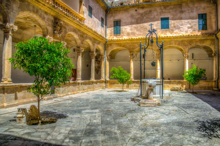 A small courtyard inside on the cathedral of Palma de Mallorca, Spain Editorial