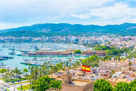 Aerial view of port in Palma de Mallorca, Spain 写真素材
