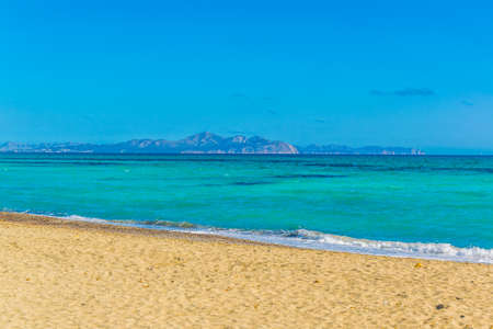Sa Canova Playa Virgen situated in Alcudia bay at Mallorca, Spain Banco de Imagens