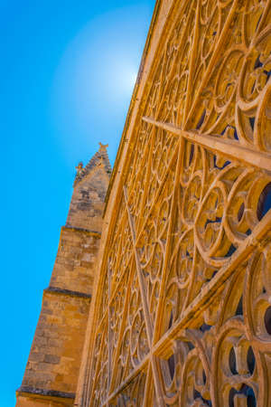 Outside view of the main window of the cathedral at Palma de Mallorca, Spain