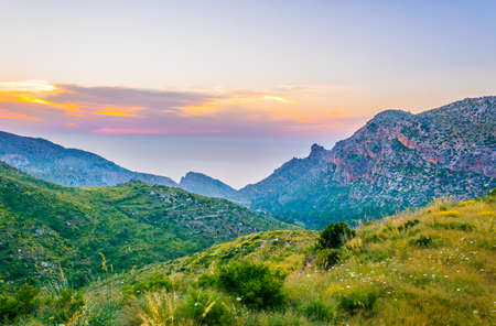 Sunset view of Serra Tramuntana mountain range at Mallorca, Spain